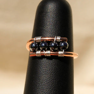 Copper Ring with Hematite Beads (CR 1008)
