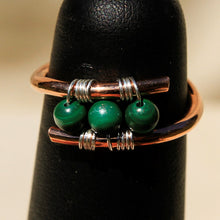 Load image into Gallery viewer, Copper Ring with Malachite Beads (CR 1009)