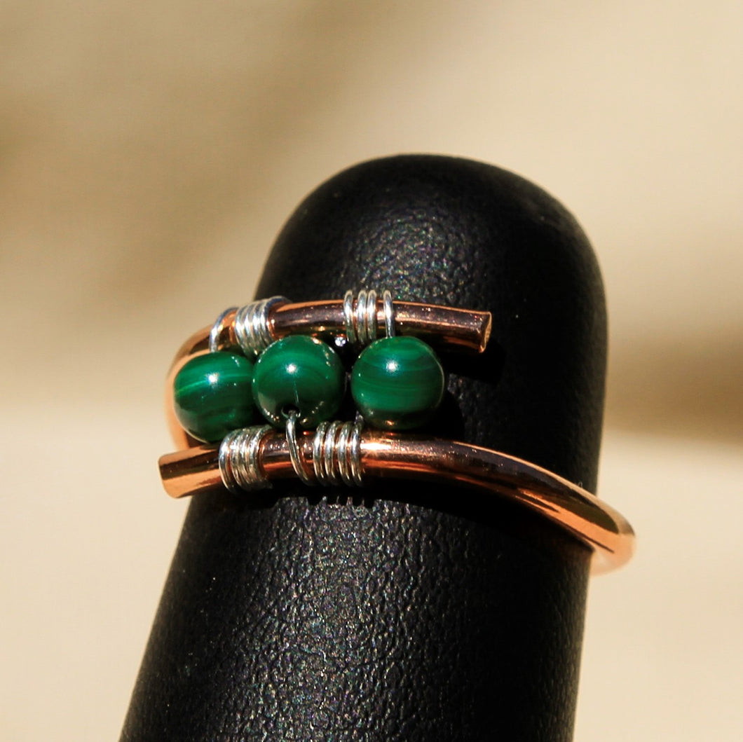 Copper Ring with Malachite Beads (CR 1009)