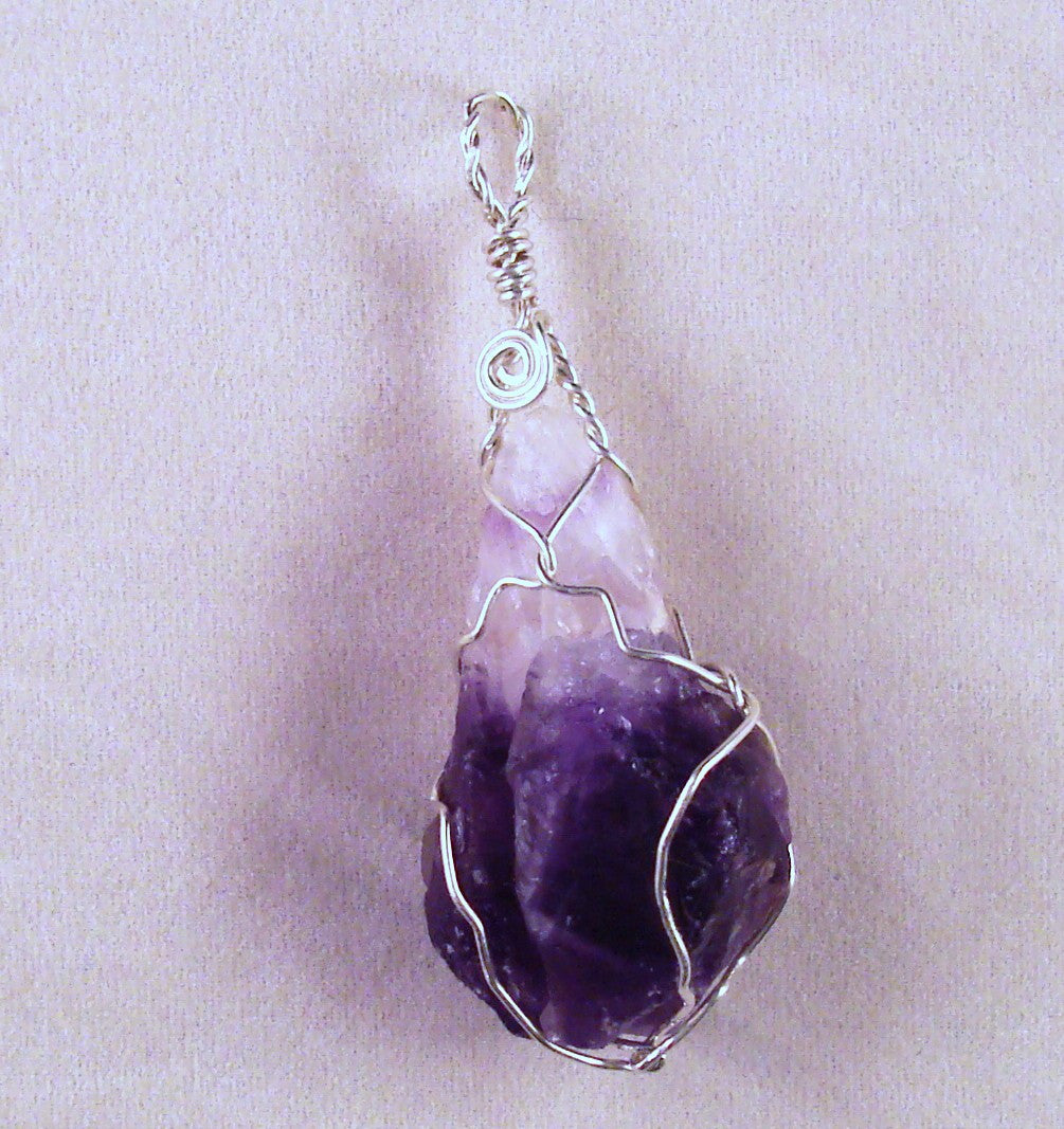 Amethyst (Rough) and Sterling Silver Wire Wrapped Pendant (SSWW 1010)