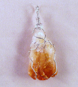 Citrine (Rough) and Sterling Silver Wire Wrapped Pendant (SSWW 1009)