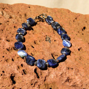 Sodalite and Silver Bead Bracelet (LC 15)