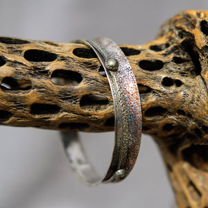 Sterling Silver Spinner Bangle Bracelet w/ Pyrite Cabochons (SB 1008)