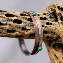 Load image into Gallery viewer, Copper Spinner Bangle Bracelet w/ Malachite Cabochons (SB 1009)
