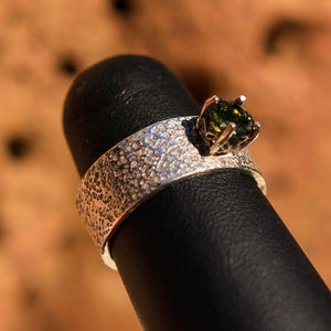 Sterling Silver Band Ring with Faceted Moldavite (SSBR 1007)