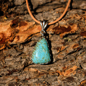 Turquoise (#8 Mine) Cabochon and Sterling Silver Pendant (SSP 1013)