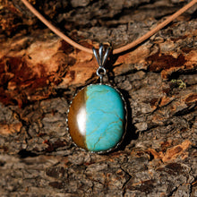 Load image into Gallery viewer, Turquoise (Royston) Cabochon and Sterling Silver Pendant (SSP 1015)
