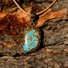 Load image into Gallery viewer, Turquoise (#8 Mine) Cabochon and Sterling Silver Pendant (SSP 1016)