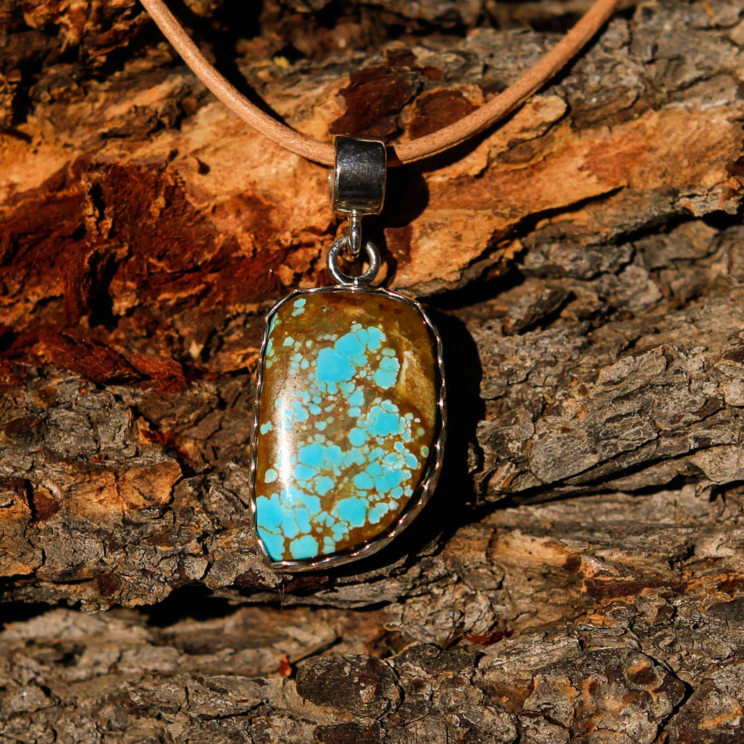 Turquoise (#8 Mine) Cabochon and Sterling Silver Pendant (SSP 1016)