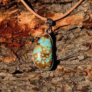 Turquoise (#8 Mine) Cabochon and Sterling Silver Pendant (SSP 1020)