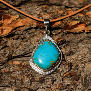 Turquoise (#8 Mine) Cabochon and Sterling Silver Pendant (SSP 1021)