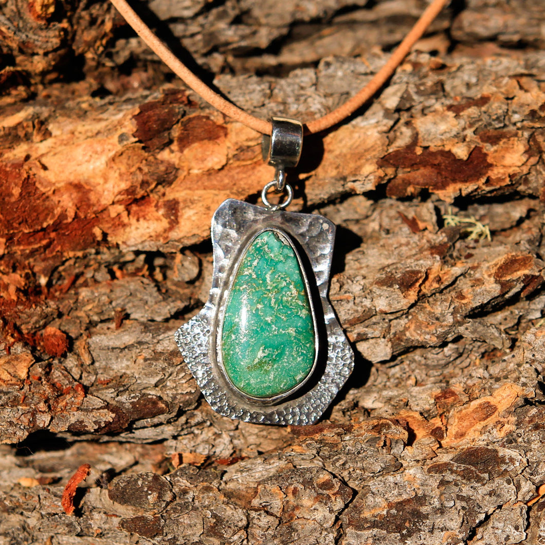 Turquoise Cabochon and Sterling Silver Pendant (SSP 1024)