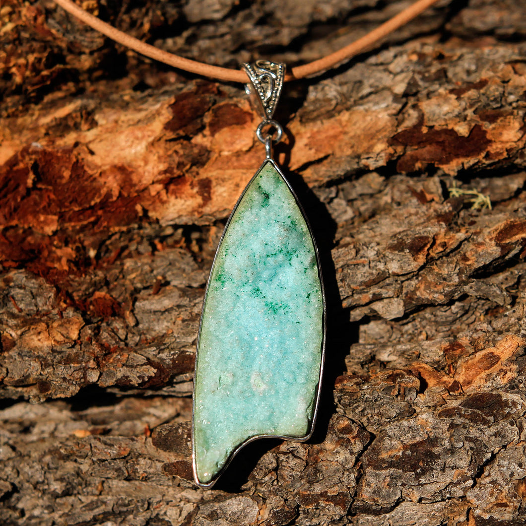 Chrysocolla Druzy (Gem Silica) Cabochon and Sterling Silver Pendant (SSP 1026)