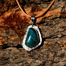 Load image into Gallery viewer, Chrysocolla (Gem Silica) Cabochon and Sterling Silver Pendant (SSP 1028)