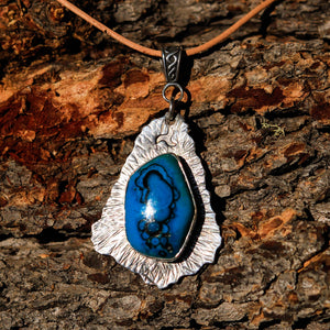 Chrysocolla (Gem Silica) Cabochon and Sterling Silver Pendant (SSP 1029)