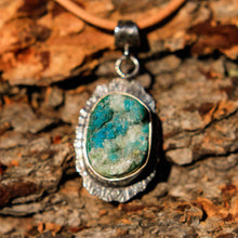Load image into Gallery viewer, Chrysocolla Druzy (Gem Silica) Cabochon and Sterling Silver Pendant (SSP 1030)