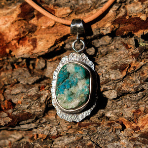 Chrysocolla Druzy (Gem Silica) Cabochon and Sterling Silver Pendant (SSP 1030)