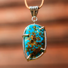 Load image into Gallery viewer, Turquoise (Kingman, Az) Cabochon and Sterling Silver Pendant (SSP 1042)