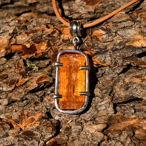 Golden Topaz Crystal and Sterling Silver Pendant (SSP 1044)
