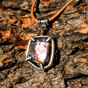 Watermelon Tourmaline and Sterling Silver Pendant (SSP 1049)
