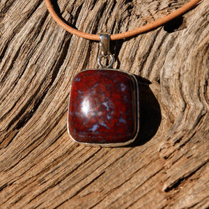 Agate (Plomosa Mtns) Cabochon and Sterling Silver Pendant (SSP 1057)