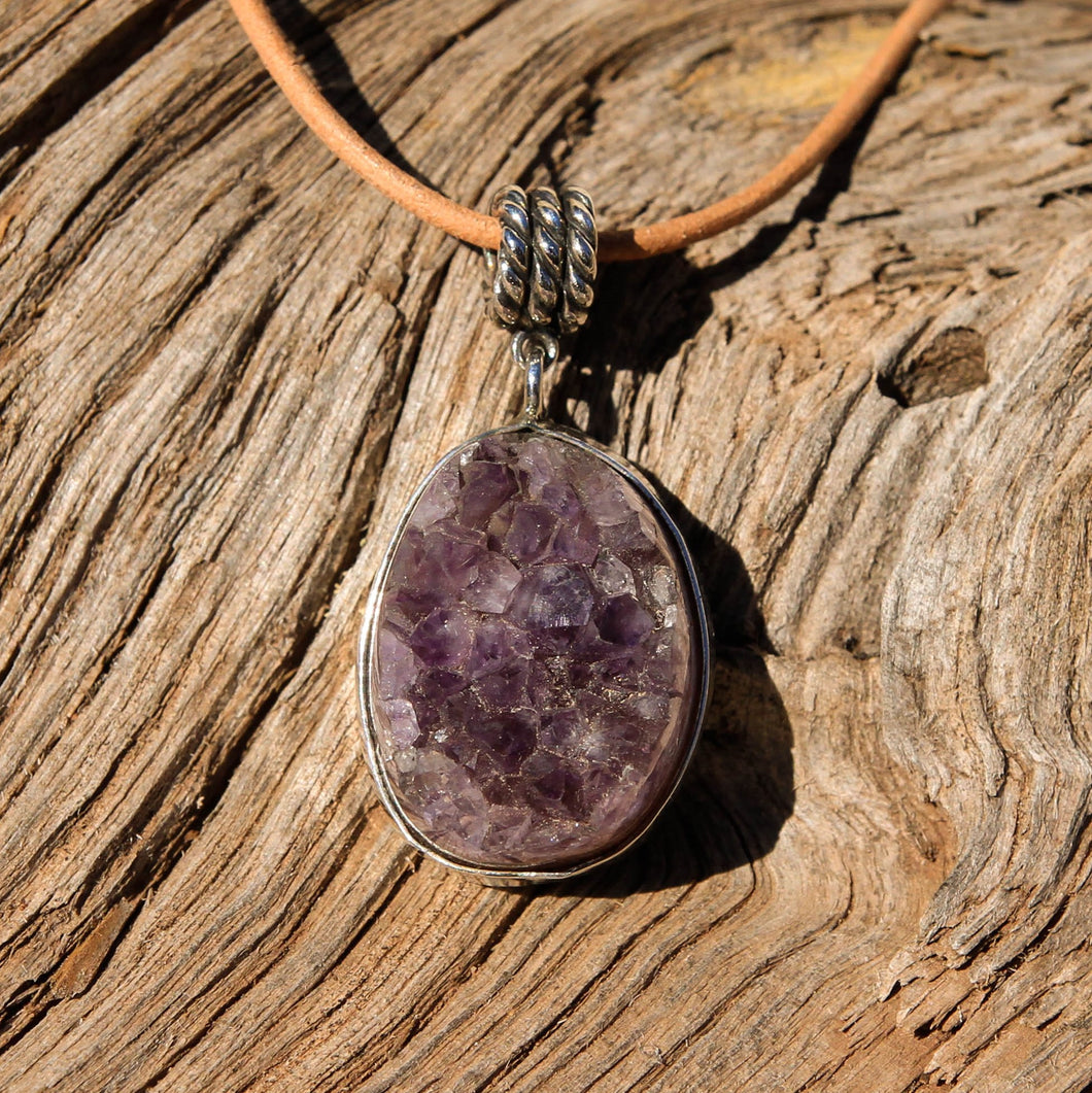 Amethyst Cabochon and Sterling Silver Pendant (SSP 1062)