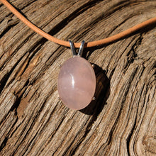 Load image into Gallery viewer, Rose Quartz Cabochon and Sterling Silver Pendant (SSP 1064)