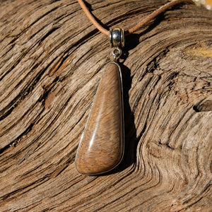Petrified Wood Cabochon and Sterling Silver Pendant (SSP 1076)