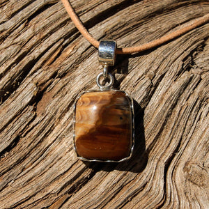 Petrified Wood Cabochon and Sterling Silver Pendant (SSP 1081)
