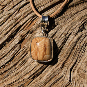 Petrified Wood Cabochon and Sterling Silver Pendant (SSP 1082)