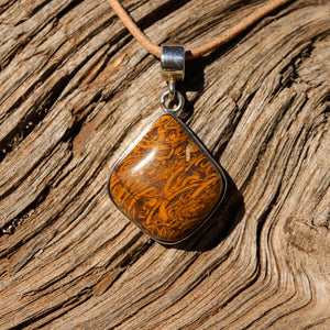 Calligraphy Jasper Cabochon and Sterling Silver Pendant (SSP 1084)
