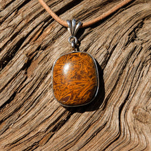 Load image into Gallery viewer, Calligraphy Jasper Cabochon and Sterling Silver Pendant (SSP 1085)