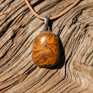 Calligraphy Jasper Cabochon and Sterling Silver Pendant (SSP 1088)