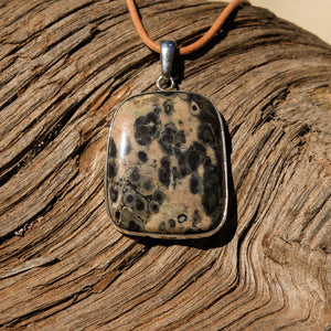 Orbicular Jasper Cabochon and Sterling Silver Pendant (SSP 1122)
