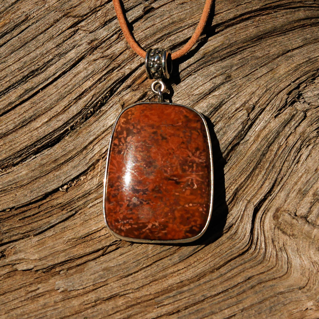 Spider Web Jasper and Sterling Silver Pendant (SSP 1133)