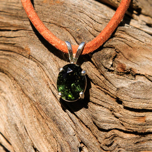 Moldavite and Sterling Silver Pendant (SSP 1153)