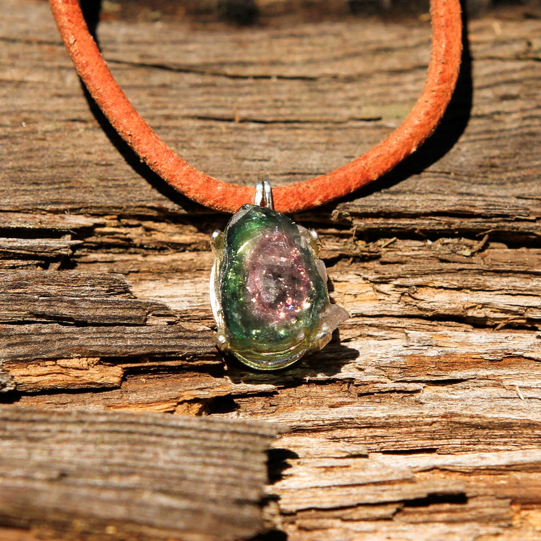 Watermelon Tourmaline and Sterling Silver Pendant (SSP 1154)