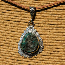 Load image into Gallery viewer, Chrysocolla Druzy (Gem Silica) Cabochon and Sterling Silver Pendant (SSP 1163)