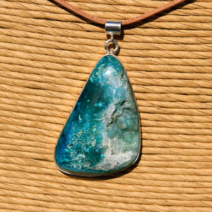 Chrysocolla Druzy (Gem Silica) Cabochon and Sterling Silver Pendant (SSP 1164)