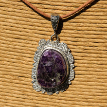 Load image into Gallery viewer, Amethyst Cabochon and Sterling Silver Pendant (SSP 1165)