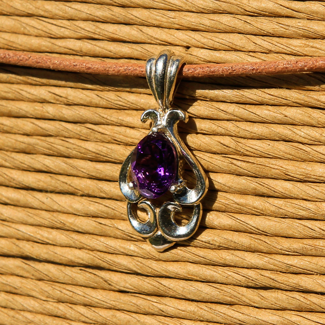Amethyst and Sterling Silver Pendant (SSP 1166)