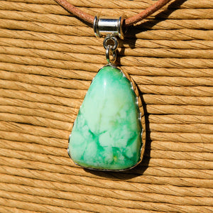 Chrysoprase Cabochon and Sterling Silver Pendant (SSP 1168)