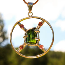 Load image into Gallery viewer, Pink and Green Tourmaline Cabochons and Sterling Silver Pendant (SSP 1169)