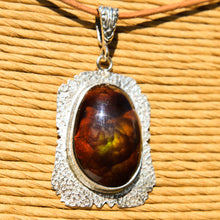 Load image into Gallery viewer, Fire Agate Cabochon and Sterling Silver Pendant (SSP 1173)