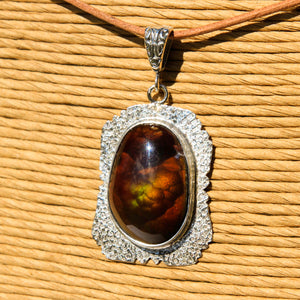 Fire Agate Cabochon and Sterling Silver Pendant (SSP 1173)