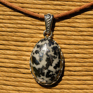 Silver Ore in Quartz Cabochon and Sterling Silver Pendant (SSP 1175)