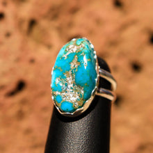 Load image into Gallery viewer, Turquoise Cabochon and Sterling Silver Ring (SSR 1007)