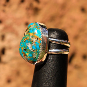 Turquoise (Kingman) Cabochon and Sterling Silver Ring (SSR 1010)