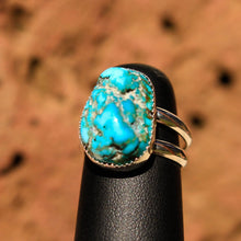 Load image into Gallery viewer, Turquoise Cabochon and Sterling Silver Ring (SSR 1011)