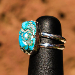 Turquoise Cabochon and Sterling Silver Ring (SSR 1011)